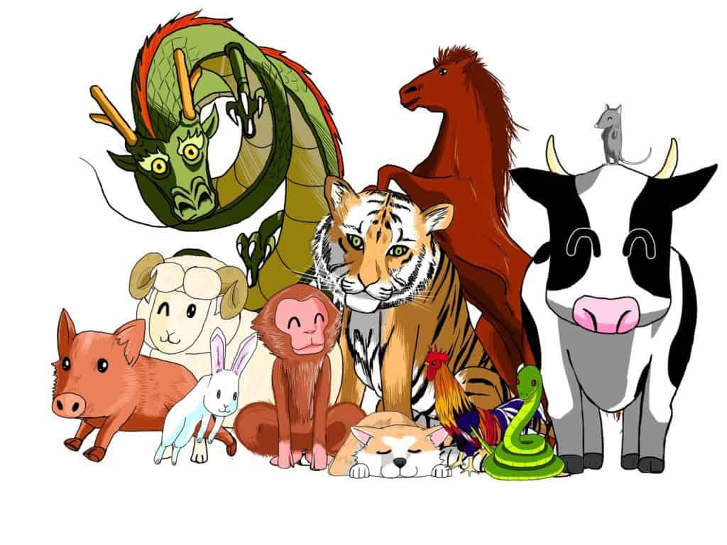 Illustration des signes du zodiaque chinois